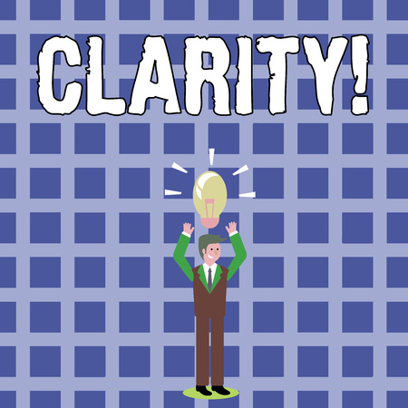 Text sign showing Clarity. Business photo text Certainty Precision Purity Comprehensibility Transparency Accuracy Businessman Standing Raising Arms Upward with Lighted Bulb Icon on his Head