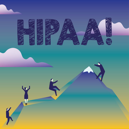 Text sign showing Hipaa. Business photo text Health Insurance Portability and Accountability Act Healthcare Law Business People Climbing Color Mountain by Themselves Holding Invisible Rope Archivio Fotografico