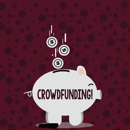 Writing note showing Crowdfunding. Business concept for Funding a project by raising money from large number of showing Piggy Bank Sideview and Dollar Coins Falling Down to Slit