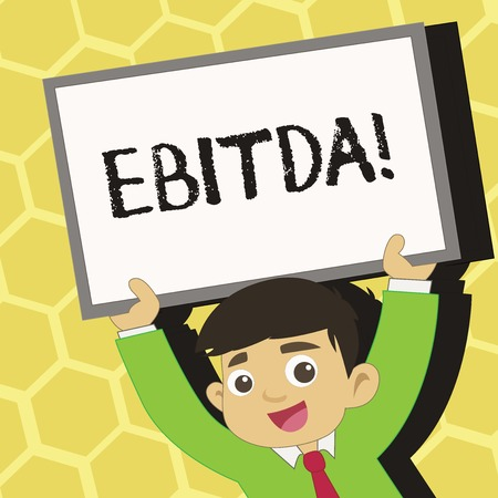 Text sign showing Ebitda. Business photo text Earnings Before Interest Taxes Depreciation Amortization Abbreviation Young Smiling Student Raising Upward Blank Framed Whiteboard Above his Head Banque d'images