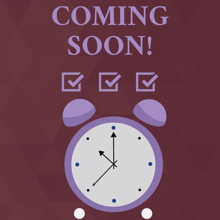 Handwriting text Coming Soon. Conceptual photo event or action that will happen after really short time Colorful Round Analog Two Bell Alarm Desk Clock with Seconds Hand photo Stock Photo