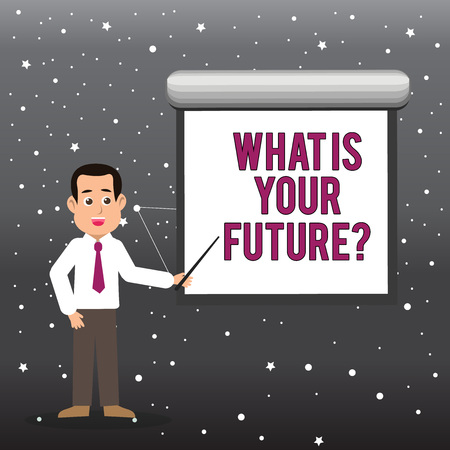 Handwriting text What Is Your Future question. Conceptual photo Where do you see yourself in the next years Man in Necktie Talking Holding Stick Pointing to Blank White Screen on Wall Foto de archivo