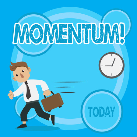 Word writing text Momentum. Business photo showcasing Quantity motion in moving body Product of mass and velocity Man in Tie Carrying Briefcase Walking in a Hurry Past the Analog Wall Clock