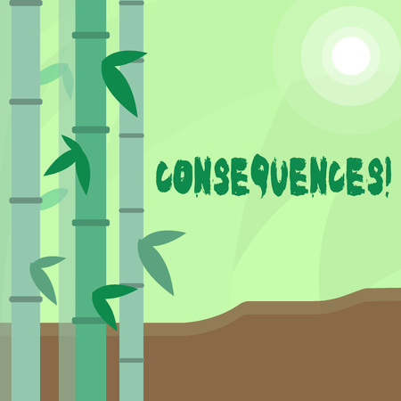 Conceptual hand writing showing Consequences. Concept meaning Result Outcome Output Upshot Difficulty Ramification Conclusion Colorful Set of Leafy Bamboo and Moon or Sun with Round Beam