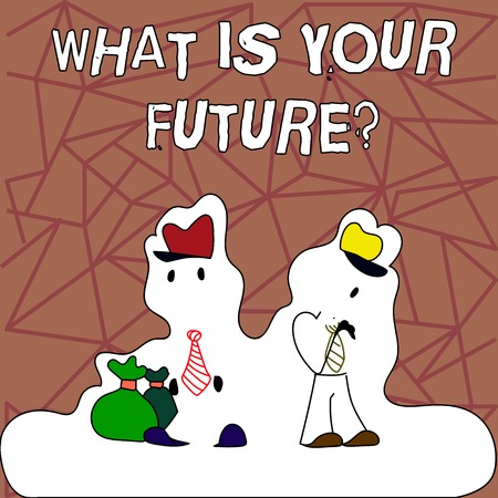Text sign showing What Is Your Futurequestion. Business photo showcasing Where do you see yourself in the next years Figure of Two Men Standing with Pouch Bag on White Sticker Style Snow Effect