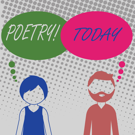 Handwriting text Poetry. Conceptual photo Literary work Expression of feelings ideas with rhythm Poems writing Bearded Man and Woman Faceless Profile with Blank Colorful Thought Bubble