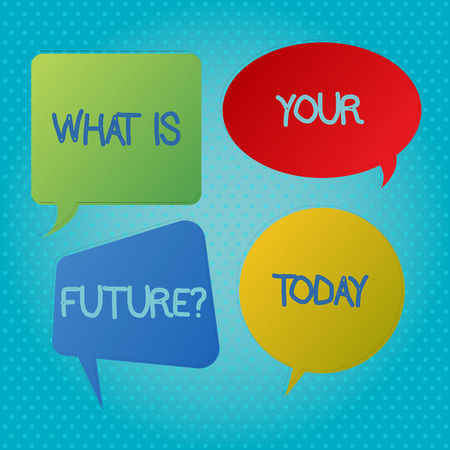 Word writing text What Is Your Futurequestion. Business photo showcasing Where do you see yourself in the next years Blank Speech Bubble Sticker in Different Shapes and Color for Multiple Chat