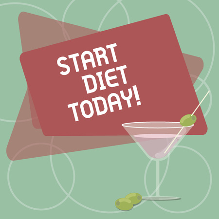 Word writing text Start Diet Today. Business photo showcasing special course food to which demonstrating restricts themselves Filled Cocktail Wine Glass with Olive on the Rim Blank Color Text Space Banco de Imagens