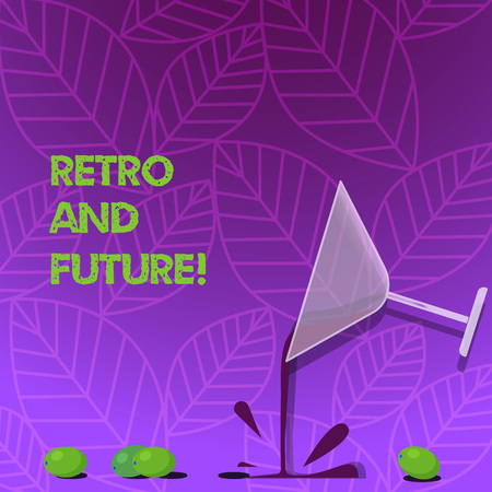 Text sign showing Retro And Future. Business photo text optimistic version of future featuring flying cars robots Cocktail Wine Glass Pouring Liquid with Splash Grapes and Shadow photo 스톡 콘텐츠