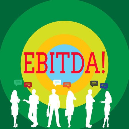 Conceptual hand writing showing Ebitda. Concept meaning Earnings Before Interest Taxes Depreciation Amortization Abbreviation Figures of People Talking with Gestures and Text Balloon 스톡 콘텐츠