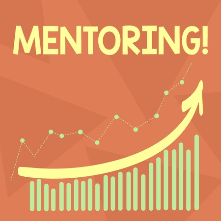 Handwriting text writing Mentoring. Conceptual photo To give advice or support to a younger less experienced demonstrating Combination of Colorful Column and Line Graphic Chart with Arrow Going Up