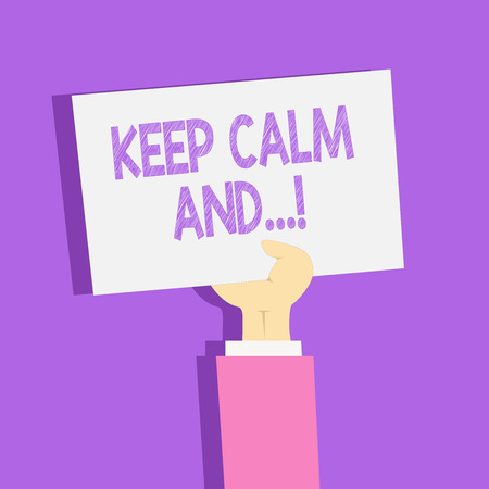 Text sign showing Keep Calm And. Business photo showcasing motivational poster produced by British government Clipart of Hand Holding Up Blank Sheet of White Paper on Pastel Backdrop Stock Photo