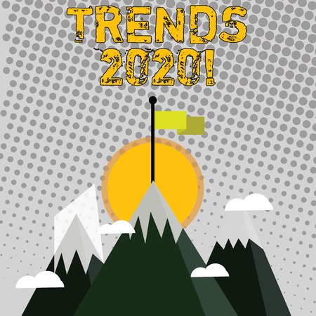 Handwriting text writing Trends 2020. Conceptual photo general direction in which something is developing or changing Three High Mountains with Snow and One has Blank Colorful Flag at the Peak