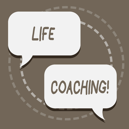Writing note showing Life Coaching. Business concept for demonstrating employed to help showing attain their goals in career Blank White Speech Balloons Conversation on Pastel Backdrop