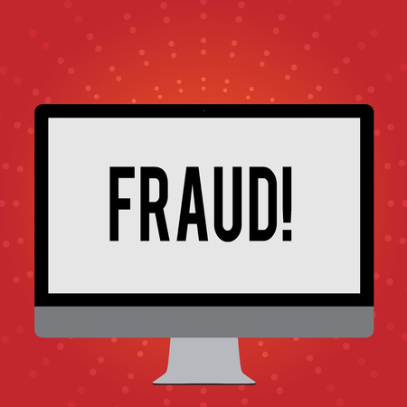 Conceptual hand writing showing Fraud. Concept meaning Criminal deception to get financial or demonstratingal gain White Computer Monitor WideScreen on a Stand for Technology Stock Photo - 119020907