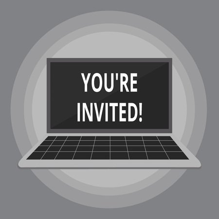 Writing note showing You Re Invited. Business concept for make a polite friendly request to someone go somewhere Laptop with Grid Design Keyboard Screen on Pastel Backdrop