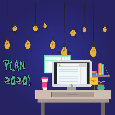 Word writing text Plan 2020. Business photo showcasing detailed proposal doing achieving something next year photo of Interior Working Space Station Concept of Technical Person