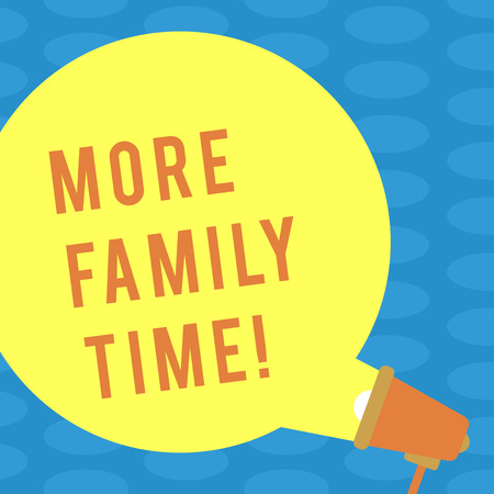 Word writing text More Family Time. Business photo showcasing Spending quality family time together is very important Blank Round Color Speech Bubble Coming Out of Megaphone for Announcement Stock Photo