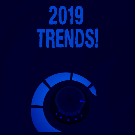 Word writing text 2019 Trends. Business photo showcasing general direction in which something is developing or changing Volume Control Metal Knob with Marker Line and Colorful Loudness Indicator 스톡 콘텐츠