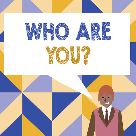 Word writing text Who Are You Question. Business photo showcasing asking about its identity or demonstratingal information Businessman Smiling and Talking with Blank Rectangular Color Speech Bubble