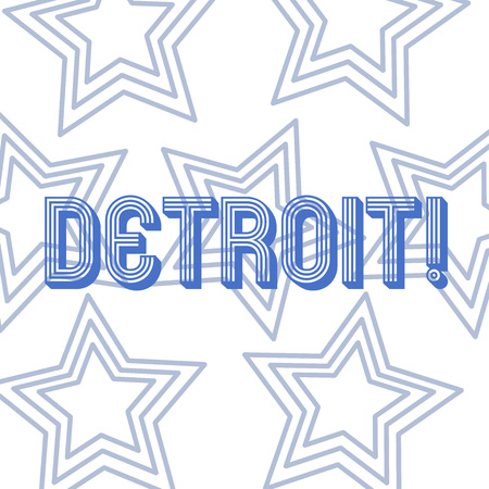 Text sign showing Detroit. Business photo showcasing City in the United States of America Capital of Michigan Motown Repetition of Pentagon Star Concentric Pattern in Random on White Isolated Stock fotó
