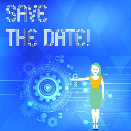 Conceptual hand writing showing Save The Date. Concept meaning remember not schedule anything else on this day Woman Presenting the SEO Process with Cog Wheel Gear inside