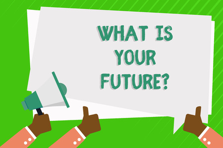 Conceptual hand writing showing What Is Your Futurequestion. Concept meaning Where do you see yourself in the next years Hand Holding Megaphone and Gesturing Thumbs Up Text Balloon