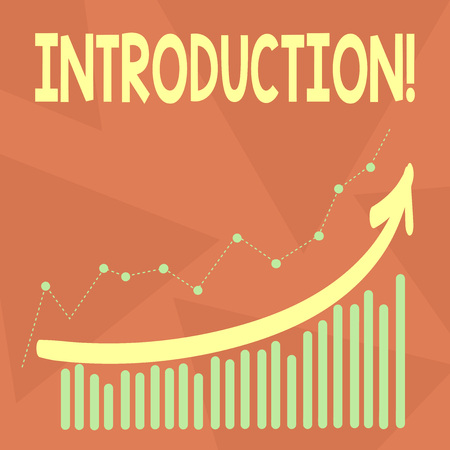 Handwriting text writing Introduction. Conceptual photo First part of a document Formal presentation to an audience Combination of Colorful Column and Line Graphic Chart with Arrow Going Up Stockfoto