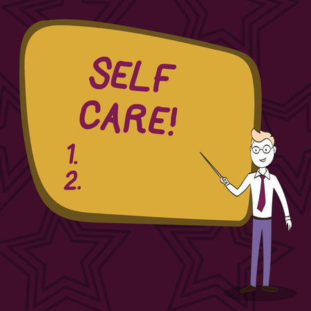 Word writing text Self Care. Business photo showcasing practice of taking action preserve or improve ones own health Confident Man in Tie, Eyeglasses and Stick Pointing to Blank Colorful Board