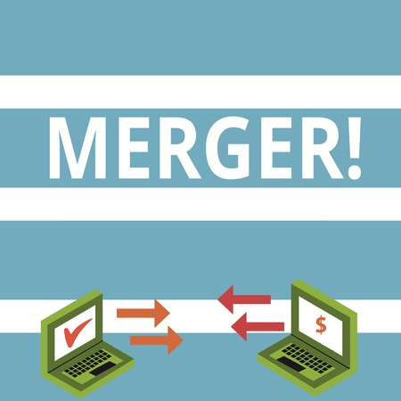 Text sign showing Merger. Business photo text Combination of two things or companies Fusion Coalition Unification Exchange Arrow Icons Between Two Laptop with Currency Sign and Check Icons