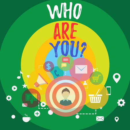 Handwriting text Who Are You Question. Conceptual photo asking about someone identity or demonstratingal information photo of Digital Marketing Campaign Icons and Elements for Ecommerce Stock Photo