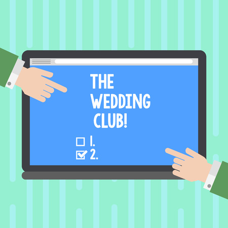 Word writing text The Wedding Club. Business photo showcasing place where couple throws big party getting married Hu analysis Hands from Both Sides Pointing on a Blank Color Tablet Screen