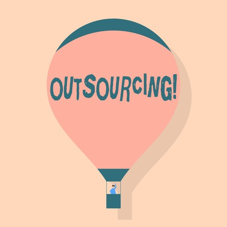 Writing note showing Outsourcing. Business concept for Obtain goods or service by contract from an outside supplier Hot Air Balloon Floating with Passenger Waving From Gondola Banque d'images