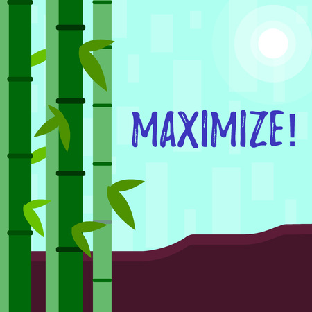 Writing note showing Maximize. Business concept for Increase to the greatest possible amount or degree Make larger Colorful Set of Leafy Bamboo and Moon or Sun with Round Beam Stock Photo