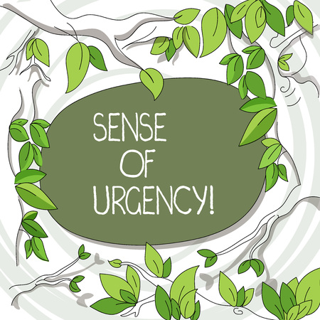 Writing note showing Sense Of Urgency. Business concept for first priority or something to be done made quickly Tree Branches Scattered with Leaves Surrounding Blank Color Text Space 写真素材