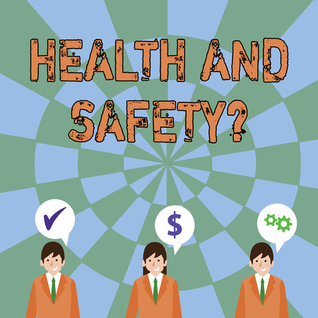 Text sign showing Health And Safety Question. Business photo text regulations and procedures to prevent accident or injury Businessmen Each has their Own Speech Bubble with Optimization Cost Icons Banco de Imagens