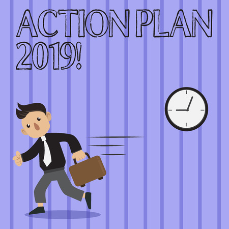 Word writing text Action Plan 2019. Business photo showcasing proposed strategy or course of actions for current year Man in Tie Carrying Briefcase Walking in a Hurry Past the Analog Wall Clock Stok Fotoğraf