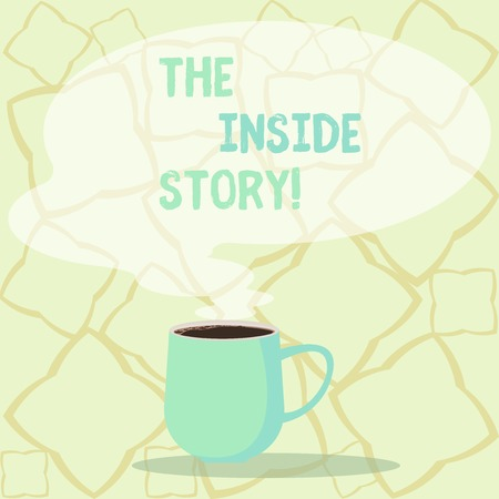 Word writing text The Inside Story. Business photo showcasing information that is known only showing closely involved Mug photo Cup of Hot Coffee with Blank Color Speech Bubble as Steam icon