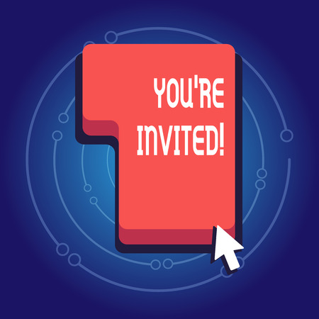 Text sign showing You Re Invited. Business photo showcasing make a polite friendly request to someone go somewhere Direction to Press or Click the Red Keyboard Command Key with Arrow Cursor