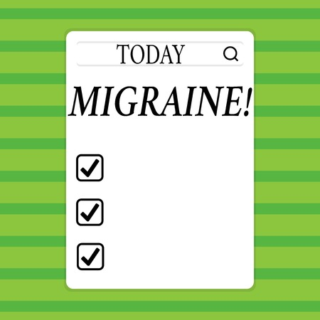 Conceptual hand writing showing Migraine. Concept meaning Recurrent headache in one side of head nausea and disturbed vision Search Bar with Magnifying Glass Icon photo on White Screen Reklamní fotografie