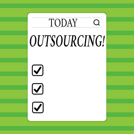 Conceptual hand writing showing Outsourcing. Concept meaning Obtain goods or service by contract from an outside supplier Search Bar with Magnifying Glass Icon photo on White Screen