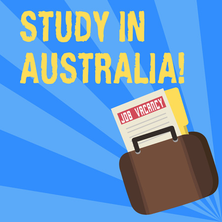 Writing note showing Study In Australia. Business concept for going into foreign country order complete your studies Announcement File for Employment Opportunity with Briefcase