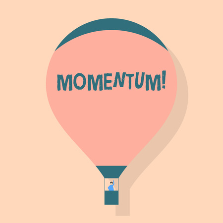 Writing note showing Momentum. Business concept for Quantity motion in moving body Product of mass and velocity Hot Air Balloon Floating with Passenger Waving From Gondola