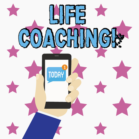 Conceptual hand writing showing Life Coaching. Concept meaning demonstrating employed to help showing attain their goals in career Human Hand Holding Smartphone with Unread Message on Screen Stock Photo
