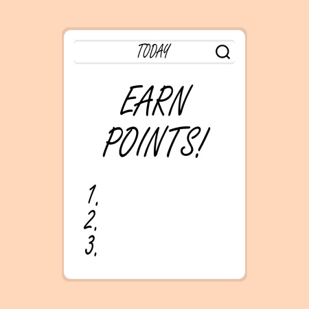 Handwriting text writing Earn Points. Conceptual photo collecting scores in order qualify to win big prize Search Bar with Magnifying Glass Icon photo on Blank Vertical White Screen