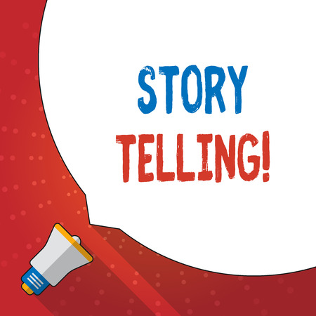Text sign showing Story Telling. Business photo text activity writing stories for publishing them to public Huge Blank White Speech Bubble Occupying Half of Screen and Small Megaphone