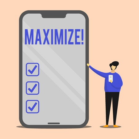 Handwriting text Maximize. Conceptual photo Increase to the greatest possible amount or degree Make larger Man Presenting Huge Blank Screen Smartphone while Holding Another Mobile