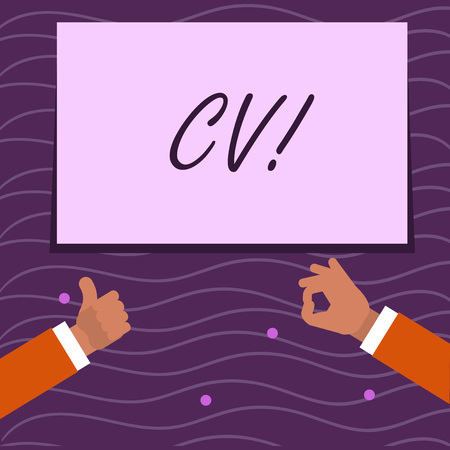 Text sign showing Cv. Business photo showcasing Curriculum Vitae Resume Infographics Job Searching Employee Recruitment Two Businessmen Hands Gesturing the Thumbs Up and Okay Sign for Promotion 스톡 콘텐츠