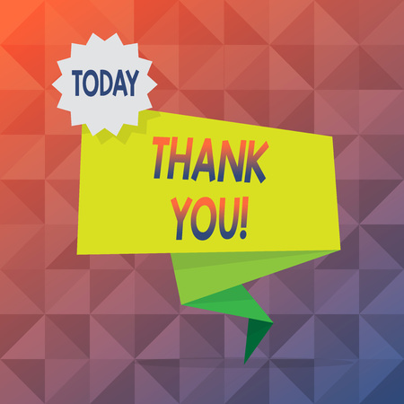 Text sign showing Thank You. Business photo text polite expression used when acknowledging gift service compliment Blank Space Green Two Tone Folded Back Banner Strip with Seal Stamp Sticker