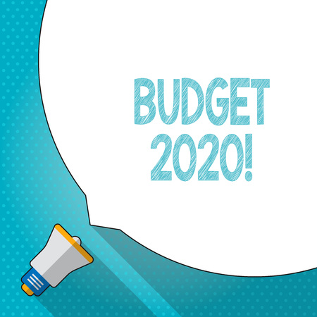 Word writing text Budget 2020. Business photo showcasing estimate of income and expenditure for next or current year Huge Blank White Speech Bubble Occupying Half of Screen and Small Megaphone Banco de Imagens